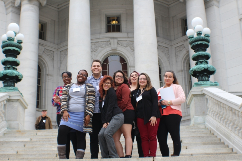 Students on capitol steps